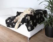 Hundedecke beige Pfoten - Fleece schwarz 150x100
